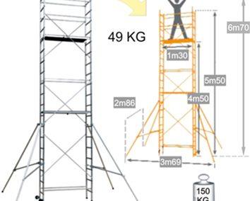 Iekšdarbu alumīnija tornis Sten 6.7m